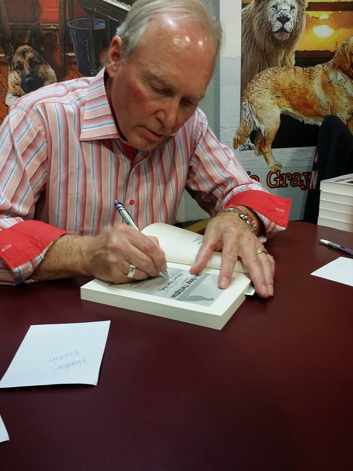 Signing my most recent book, No Gray Twilights